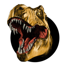 dinosaur head sketch vector color drawing of a brown leather