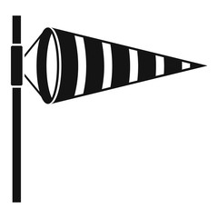 Meteorology windsock inflated by wind icon