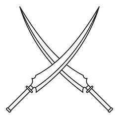 Japanese samurai swords icon, outline style