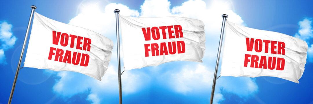 voter fraud, 3D rendering, triple flags