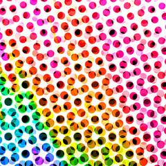 Halftone Dots Spotted Circle Backdrop with Colorful Rainbow Hues of Pink Purple Red Orange Yellow and Green - High resolution illustration, suitable for graphic design or background use.