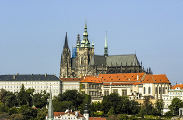 Prague, hill Hradschin with Veits Cathedral, Czech Republic