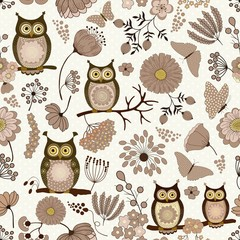 Floral seamless pattern with cute cartoon owls