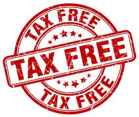 tax free red grunge round vintage rubber stamp