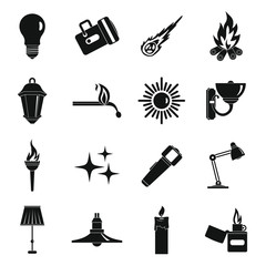 Light source symbols icons set, simple style