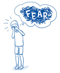 Young boy covering his eyes with fear. Hand drawn cartoon doodle vector illustration.