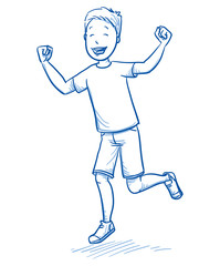 Happy young boy dancing and jumping with joy. Hand drawn cartoon doodle vector illustration.
