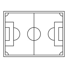 Top view of soccer field icon, outline style