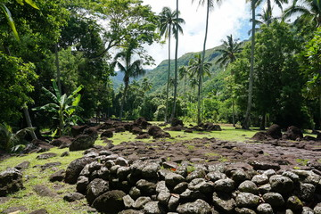 Tahiti island old stone structure in a valley with tropical vegetation, Arahurahu Marae, French Polynesia, Oceania