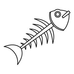 Fish skeleton icon, outline style