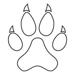 Paw print icon, outline style