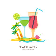 Tropical island landscape with cocktail glass and palm tree. Vector doodle isolated illustration. Trendy flat design for summer beach party, bar menu of alcohol drinks or wine list.
