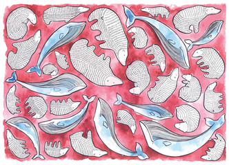 Pattern of the bears and whales, handmade illustration, vector design art