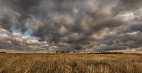storm clouds in the autumn steppe