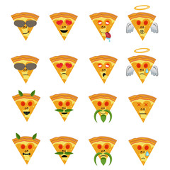 Emoticon vector illustration. Emoticon Pizza face on a white background. Different emotions collection.Fast food.