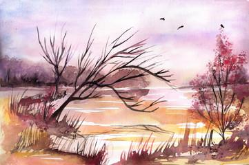 Keuken foto achterwand Schilderkunstige Inspiratie Watercolor landscape with trees.