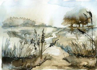 Photo sur Toile Inspiration painterly Watercolor landscape with trees.