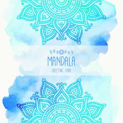 Hand-drawn mandala. Lace ornament. Round, circle pattern. Greeting, invitation card. Mehndi and yoga design. Oriental, Indian style. Vector illustration.