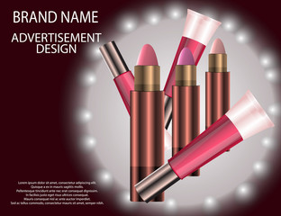 Glamorous Set of tubes with lip gloss and lip balm on the  sparkling effects background