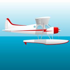 White seaplane. Hydroplane in the sky over the sea. Vector Image.