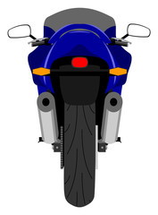 Color classic sport racing motorcycle back view isolated on white vector illustration