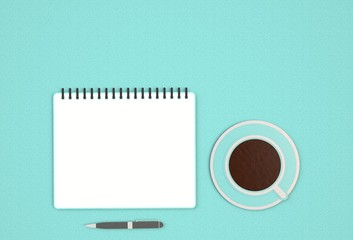 Top view image of open notebook with blank pages next to cup of coffee on blue table. ready for adding text or mockup. paper art and craft style.