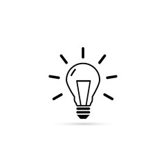 Light Bulb line icon vector, isolated on white background.