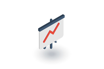 growth graph chart, market success, stock bar up isometric flat icon. 3d vector colorful illustration. Pictogram isolated on white background