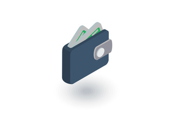 wallet isometric flat icon. 3d vector colorful illustration. Pictogram isolated on white background