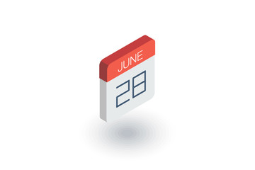 date and time, calendar isometric flat icon. 3d vector colorful illustration. Pictogram isolated on white background