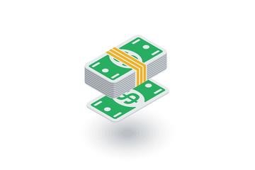 banking, money bundle, dollar banknotes isometric flat icon. 3d vector colorful illustration. Pictogram isolated on white background