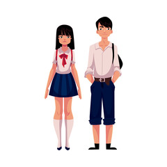 Typical teenage Japanese students, schoolgirl and schoolboy, in typical uniform, cartoon vector illustration isolated on white background. Full length portrait of typical Japanese school students