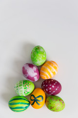 Easter eggs in shape of pyramid, above view
