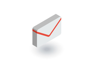 envelope, email letter, mail isometric flat icon. 3d vector colorful illustration. Pictogram isolated on white background
