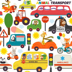 seamless pattern transports with animals - vector illustration, eps