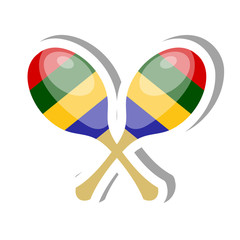 Color vector Cartoon musical instrument maracas on a white background. Stickers