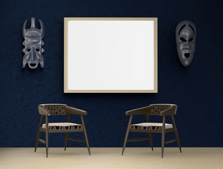 Mock up interior. Blue ethno room, two armchairs and a mask in the African style on the wall. 3d rendering.