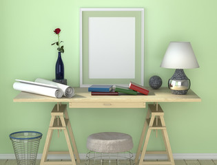 Wooden desk with lamp. Paper and other desktop. Trash can and a chair under the table. Red rose in a vase on the table.
