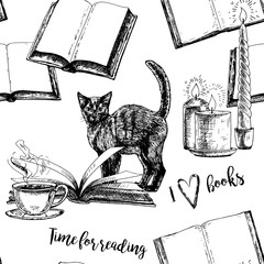 Seamless vintage pattern with books.