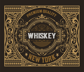 Retro logo for Whiskey or other products with Floral Frame