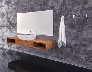 modern clean bathroom 3D rendering