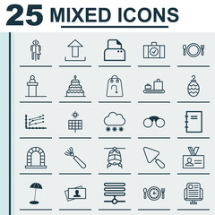 Set Of 25 Universal Editable Icons. Can Be Used For Web, Mobile And App Design. Includes Elements Such As Coast Parasol, Arch, Refund And More.