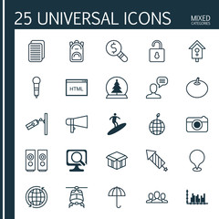 Set Of 25 Universal Editable Icons. Can Be Used For Web, Mobile And App Design. Includes Elements Such As Sound Box, Firework, Map Pointer And More.