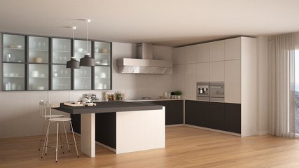 Classic minimal white and gray kitchen with parquet floor, modern interior design