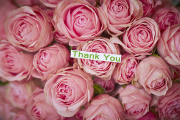 Flower bouquet with word thank you