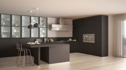 Classic minimal gray kitchen with parquet floor, modern interior design