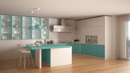 Classic minimal white and turquoise kitchen with parquet floor, modern interior design