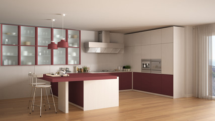 Classic minimal white and red kitchen with parquet floor, modern interior design