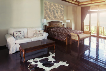 Luxury Villa bed room Interior design with big window and balcony