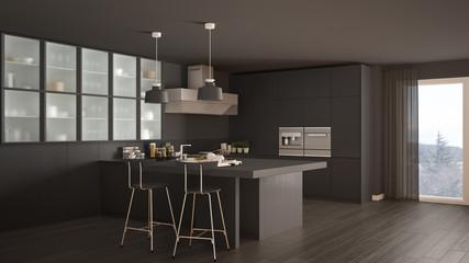 Classic minimal gray kitchen with parquet floor, modern interior design